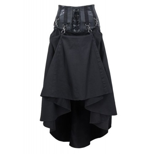 GOTHIC BLACK LONG SKIRT WITH LACING AND CARABINER HOOK FOR WOMENS STEAMPUNK GOTH