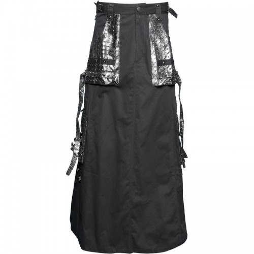 2015 Gothic Black Black men's skirt with plastic applications cotton material