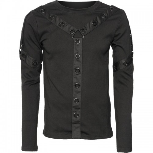 2015 Gothic black Men's long-sleeve top with eyelets and straps cotton material