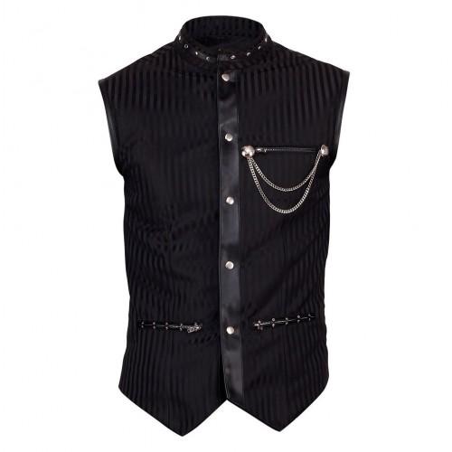 2015 Gothic Vintage Goth Steampunk vest men black black brocade vest polyester material
