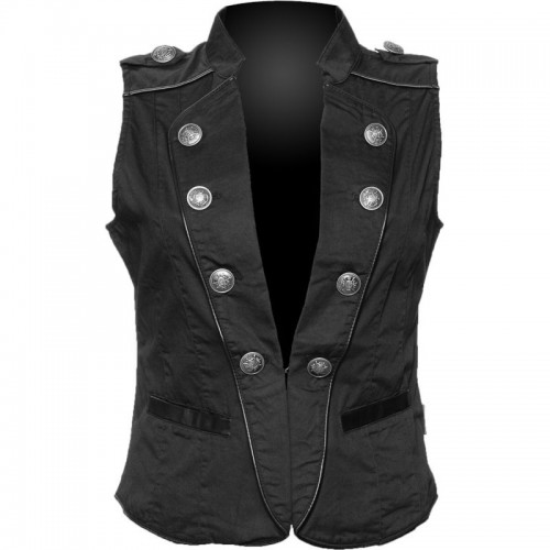 GOTHIC BLACK MILITARY STYLE VEST FOR WOMENS STEAMPUNK GOTH