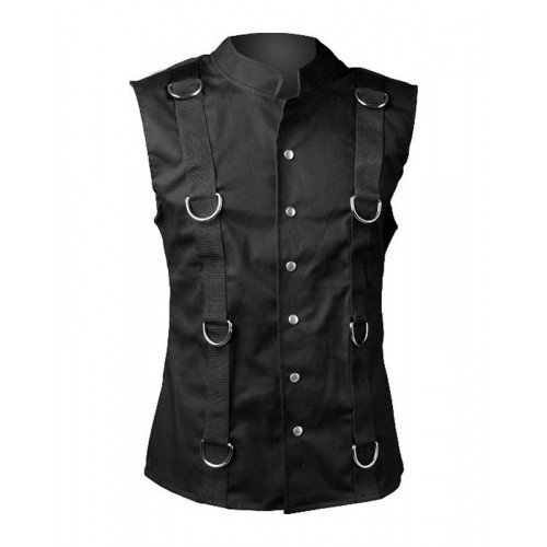 2015 Gothic black Gothic ring vest black denim cotton material